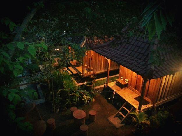 Asik kan malam-malam dengan suasana pedesaan (foto diambil dari rumah induk lantai 2)
